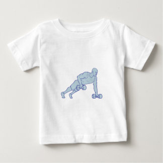 Fitness Athlete Push Up One Hand Dumbbell Drawing Baby T-Shirt