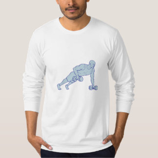 Fitness Athlete Push Up One Hand Dumbbell Drawing T-Shirt