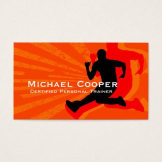 Fitness Business Card Orange Red