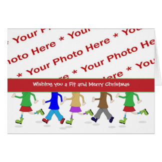 Fitness Christmas Photo Greeting Card with Runners