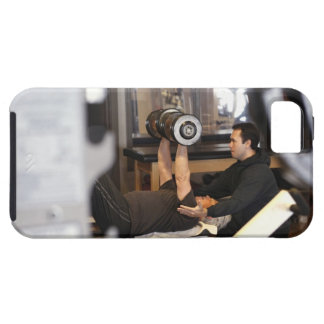 fitness coach works with 'senior' in gym iPhone 5 case