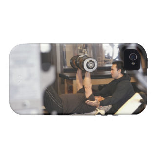 fitness coach works with 'senior' in gym iPhone 4/4S cases
