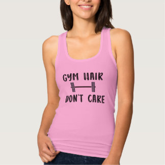 Fitness Fun; Gym Hair, Don't Care Quote Tank Top