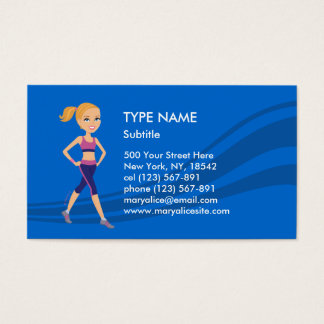 Fitness Girl Cartoon Business Card