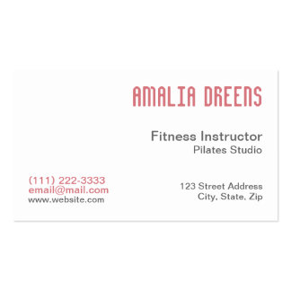 Fitness Instructor on white Business Cards