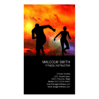 Fitness Instructor Runners In The Sunset Business Card Template