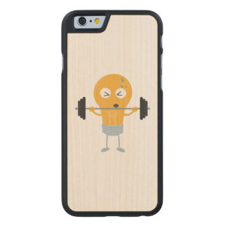 Fitness light bulb with weight carved maple iPhone 6 case