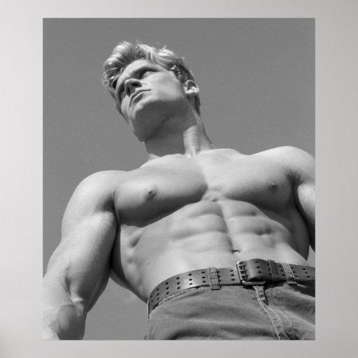 Fitness Model Poster - BW