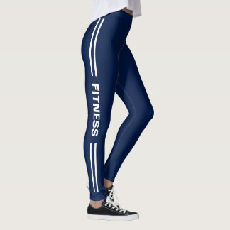 Fitness Navy Blue with Trendy Double Striped Leggings