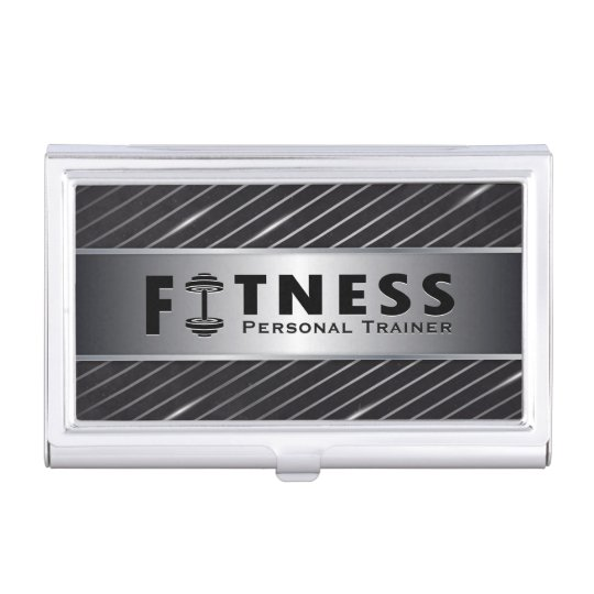 Fitness Personal Trainer Bold Text Dumbbell Logo Business Card Holders
