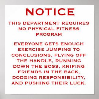 Fitness Program Notice Poster
