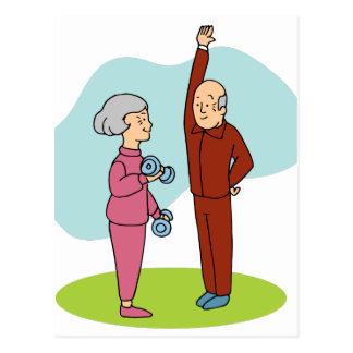Fitness Seniors Cartoon Postcard