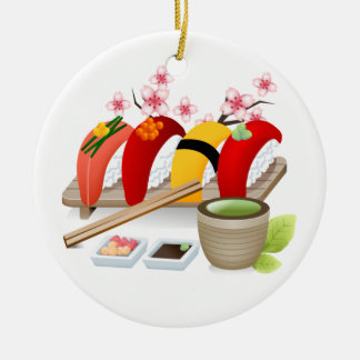 Fitness - Sushi! by SRF Round Ceramic Ornament