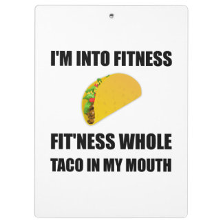 Fitness Taco In My Mouth Funny Clipboard