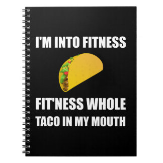 Fitness Taco In My Mouth Funny Spiral Notebook