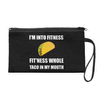 Fitness Taco In My Mouth Funny Wristlet
