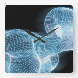 Fitness Technology Science Lifestyle as a Concept Square Wall Clock