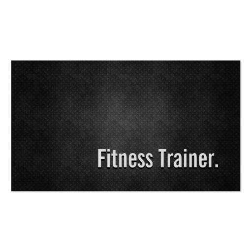 Fitness Trainer Cool Black Metal Simplicity Business Card Templates
