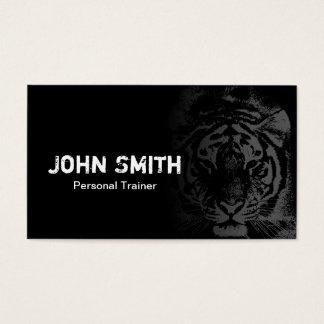 Fitness Trainer Cool Tiger Tattoo Black Business Card