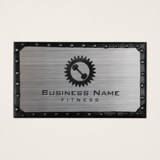 Fitness Trainer Industrial Metal Framed Faux Steel Business Card