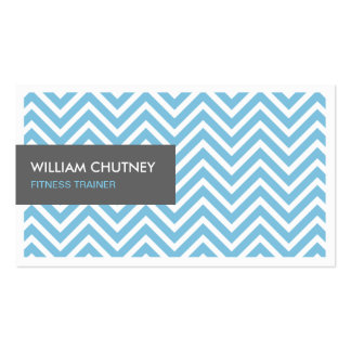 Fitness Trainer - Light Blue Chevron Zigzag Double-Sided Standard Business Cards (Pack Of 100)