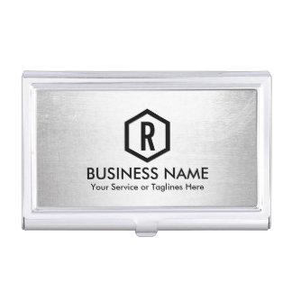 Fitness Trainer Modern Silver Monogram Business Card Holder