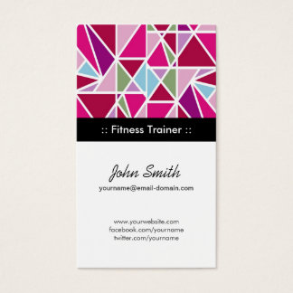 Fitness Trainer Pink Abstract Geometry Business Card