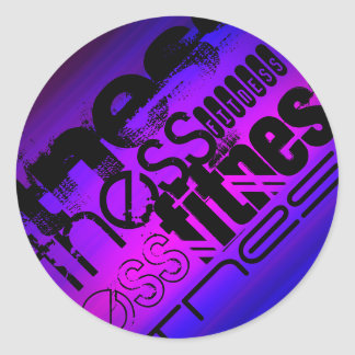 Fitness; Vibrant Violet Blue and Magenta Classic Round Sticker