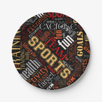 Fitness Word Cloud Red/White ID284 7 Inch Paper Plate