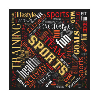 Fitness Word Cloud Red/White ID284 Canvas Print