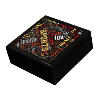 Fitness Word Cloud Red/White ID284 Gift Box