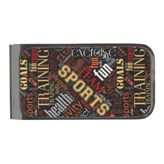 Fitness Word Cloud Red/White ID284 Gunmetal Finish Money Clip