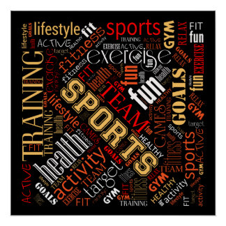 Fitness Word Cloud Red/White ID284 Perfect Poster