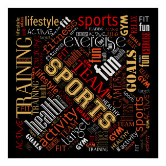 Fitness Word Cloud Red/White ID284 Poster