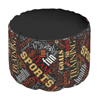 Fitness Word Cloud Red/White ID284 Pouf