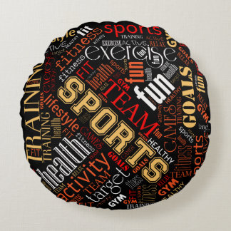 Fitness Word Cloud Red/White ID284 Round Pillow
