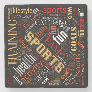 Fitness Word Cloud Red/White ID284 Stone Coaster