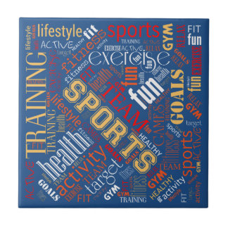 Fitness Word Cloud Red/White ID284 Tile