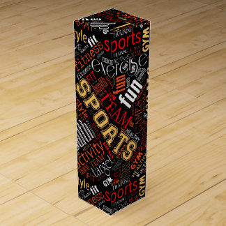 Fitness Word Cloud Red/White ID284 Wine Gift Box