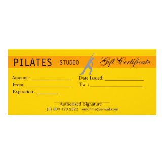 Fitness Yoga Pilates Gift Certificate Giveaway Custom Rack Card