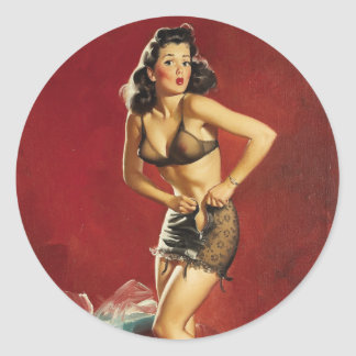 Fitting Pin Up Classic Round Sticker