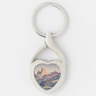 Fitz Roy and Poincenot Andes Mountains - Patagonia Keychain