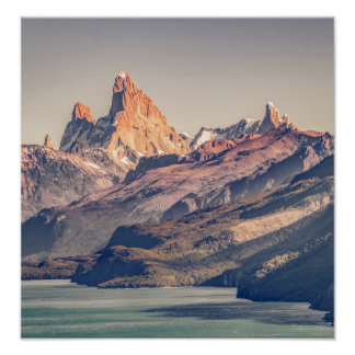Fitz Roy and Poincenot Andes Mountains - Patagonia Poster