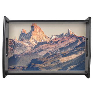 Fitz Roy and Poincenot Andes Mountains - Patagonia Serving Tray