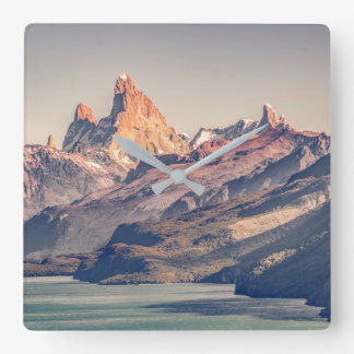 Fitz Roy and Poincenot Andes Mountains - Patagonia Square Wall Clock
