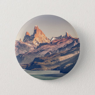 Fitz Roy and Poincenot Mountains Patagonia 2 Inch Round Button