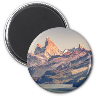 Fitz Roy and Poincenot Mountains Patagonia 2 Inch Round Magnet