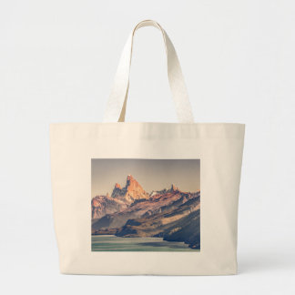 Fitz Roy and Poincenot Mountains Patagonia Large Tote Bag