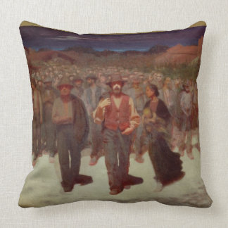 Fiumana (The Human Tide) 1895-96 (oil on canvas) Throw Pillow