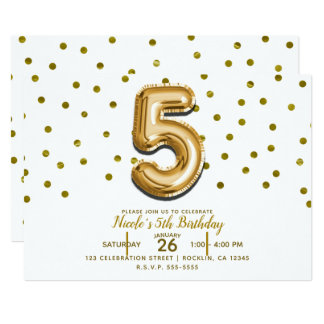 FIVE 5 5th Gold Balloon & Confetti Birthday Party Card